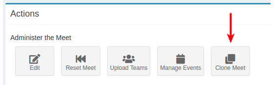 A Clone Meet button in the AthleticLIVE admin.